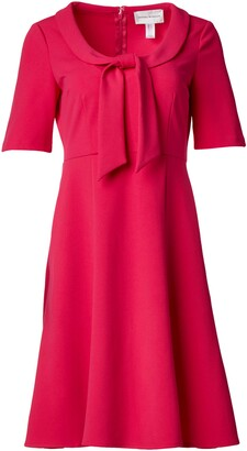 Donna Morgan Women's Petite Short Sleeve Tie Portrait Collar Fit and Flare Stretch Crepe Dress
