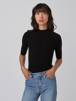 Frank and Oak Machine-Washable Merino Mockneck Sweater in Black