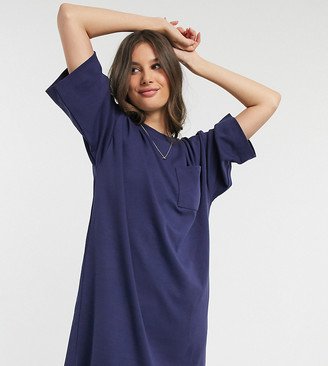 Asos Tall ASOS DESIGN Tall oversized winter weight T-Shirt dress with pocket in navy