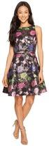 Tahari by Arthur S. Levine Petite Metallic Floral Fit and Flare Dress Women's Dress