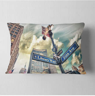 """5th Avenue LX Designart Library Way And Street Signs Modern Cityscape Throw Pillow - 12"""" X 20"""""""