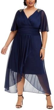 SL Fashions Plus Size Embellished Chiffon Cold-Shoulder Dress