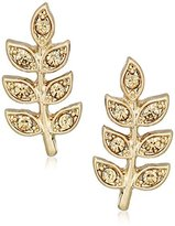"lonna & lilly Lilac Breeze"" Gold-Tone/Topaz Leaf Stud Earrings"
