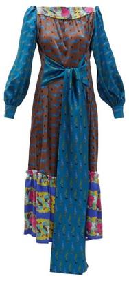 RIANNA + NINA Callas Fish-print Silk-satin Midi Dress - Blue Multi