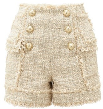 Balmain High-rise Cotton-blend Tweed Shorts - Womens - Beige