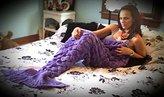 Lxiang Valentine's Gift Mermaid Tail Blanket Crochet,Handmade Mermaid Blanket for Adult ,Super Soft Comfortable Suitable for All Seasons Sleeping,Reading,Watching, Working,Sofa Blankets (Purple)