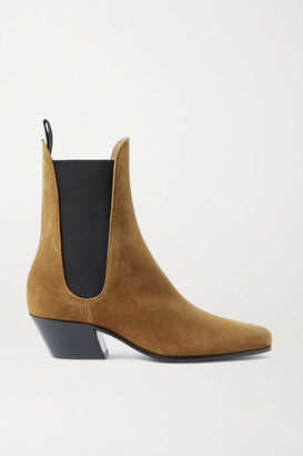 KHAITE Saratoga Suede Ankle Boots - Tan