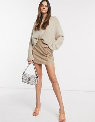 Vero Moda mini skirt in tan faux suede-Brown