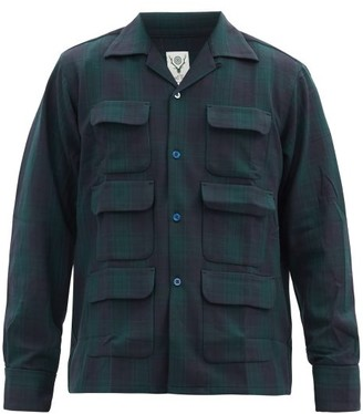 South2 West8 Patch-pocket Check-jacquard Twill Shirt - Green Multi