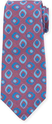 Kiton Men's Art Deco Squares Silk Tie, Red