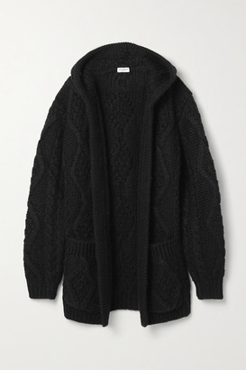 Saint Laurent Oversized Hooded Cable-knit Wool And Mohair-blend Cardigan - Black
