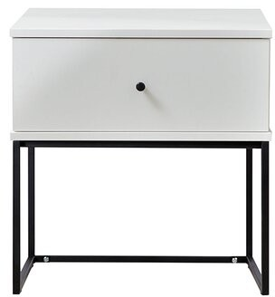 Union Rustic Efrain Bedside 1 Drawer Nightstand Color: White/Black