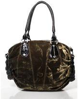 Hogan Green Black Velvet Patent Leather Trim Shoulder Bag