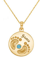 JCPenney FINE JEWELRY Personalized 14K Yellow Gold Name and Birthstone Footprints Pendant Necklace