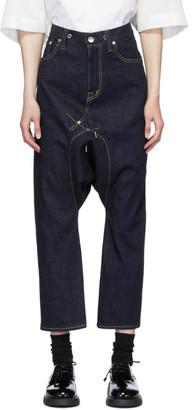 Fumito Ganryu Indigo Cropped Sarrouel Jeans