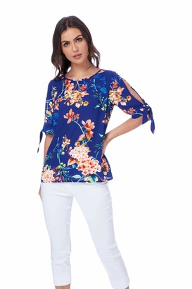 Roman Originals Women Double Layer Wrap Asymmetric Top - Ladies Light Sleeveless Blouse - Female Office Smart Summer Going Out Evening Holiday Vest - Royal Blue - Size 10