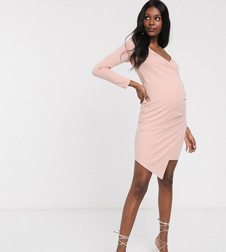 Blume Maternity wrap front midi jersey dress in soft pink