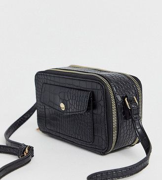 Glamorous Exclusive mock croc multi compartment camera bag in black