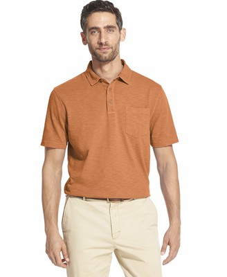Izod Men's Saltwater Dockside Short Sleeve Slub Solid Polo