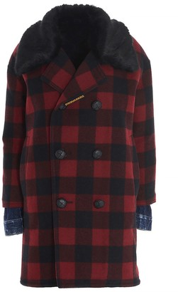 DSQUARED2 Logo Patch Checked Coat