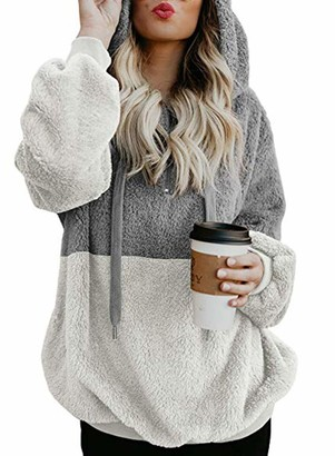 Actloe Women 1/4 Zip Casual Fuzzy Sweatshirt Hooded Loose Outwear with Pockets A Gray White X-Large