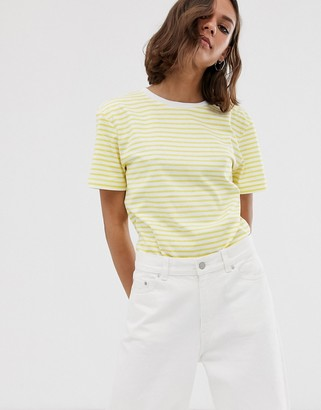 Dr. Denim relaxed fit stripe t shirt-Yellow