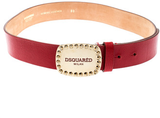 DSQUARED2 Red Lizard Embossed Leather Belt 80CM