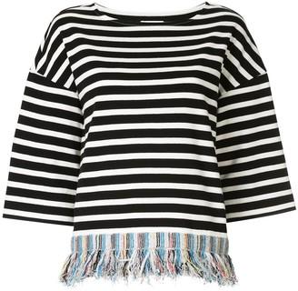Coohem fringed striped T-shirt
