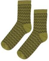 Zig zag stitch ankle socks