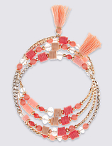 M&S Collection Coil Coral Cuff Tassel Bracelet