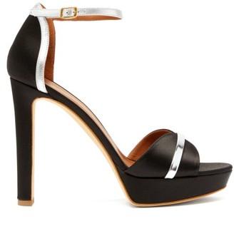 Malone Souliers Miranda Satin Platform Sandals - Black Silver