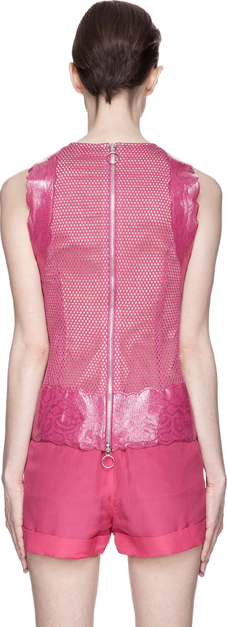 Versus Fuchsia Patent Leather Bonded Lace Blouse