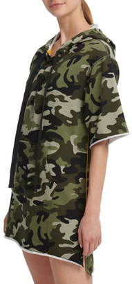 DKNY Camo Print Hooded Short Sleeve Sneaker Dress With Contrast Piping