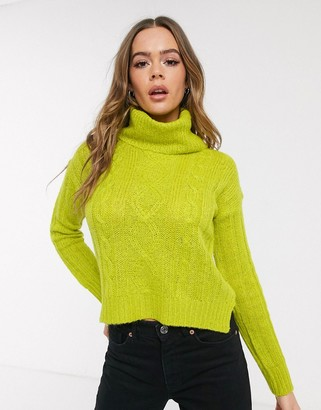 Qed London cable knit roll neck jumper in acid green