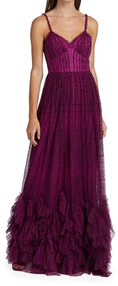 Marchesa Notte Fit & Flare Ruffle Gown