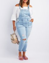 Charlotte Russe Plus Size Refuge Destroyed Denim Overalls