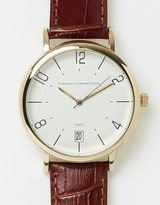 French Connection Harley 42mm Croc Leather Strap Watch