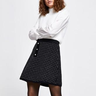 River Island Womens Black boucle tweed mini skirt