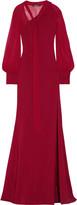 Roberto Cavalli Silk chiffon-paneled cady gown
