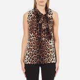 Moschino Women's Tie Neck Top Leopard