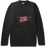 Vetements Embroidered Loopback Cotton-blend Jersey Sweatshirt - Black