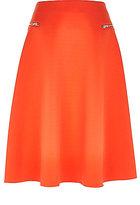 Womens Orange zip pocket midi skirt