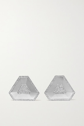 Ofira Shield 18-karat White Gold Diamond Earrings
