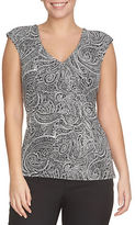 Chaus Side Knot Printed Wrap Top