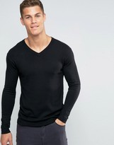 Benetton Viscose mix V Neck Sweater