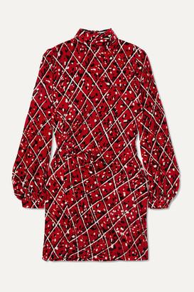 Raquel Diniz Elle Ruched Printed Velvet Mini Dress - Red