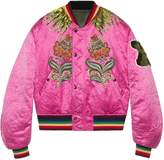 Gucci Embroidered reversible silk bomber