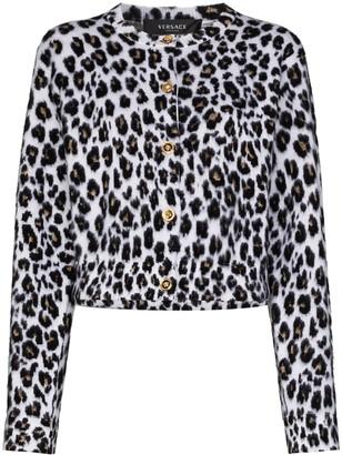 Versace Leopard-Print Knit Cardigan