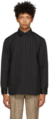 AURALEE Black Quilted Suvin High Count Shirt