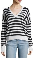 Rag & Bone Bevan Striped V-Neck Wool Sweater